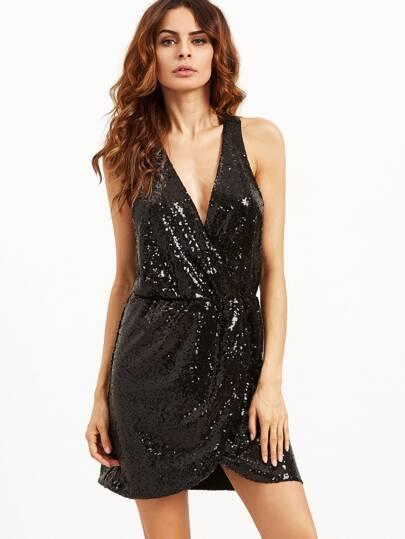 Black Deep V Neck Crossover Sequined Dress