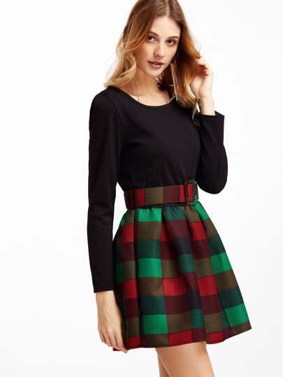 Vestito Combinato Plaid Scacchiere Con Cintura - Contrasto