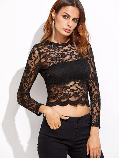 Black Floral Lace Crop Scallop Top