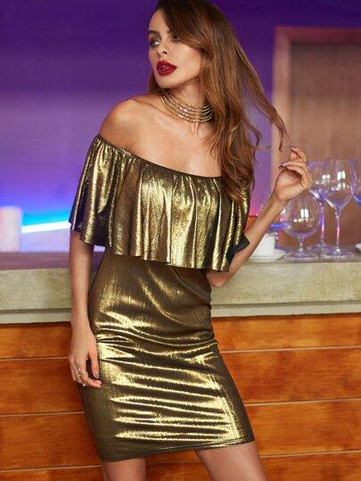 Gold Off The Shoulder Ruffle Dress
