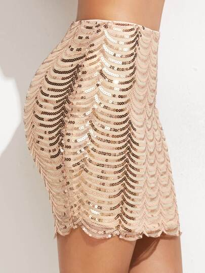 Gold Scallop Sequin Bodycon Skirt