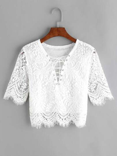 Eyelet Lace Up Front Scalloped Hem Lace Blouse