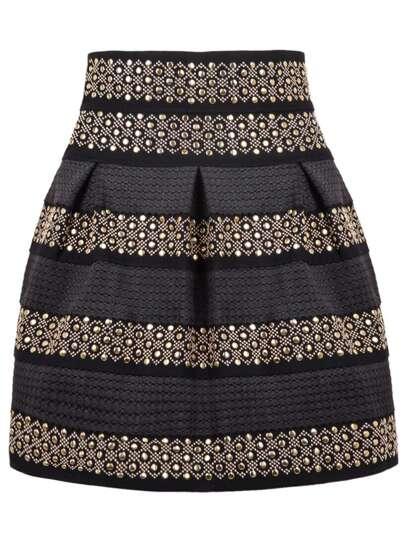 Black High Waist Rivet Studs Striped Skirt