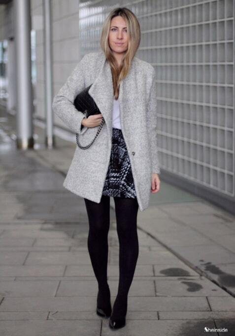 Grey Single Button Tweed Coat - Style Gallery & Lookbook of SheIn us