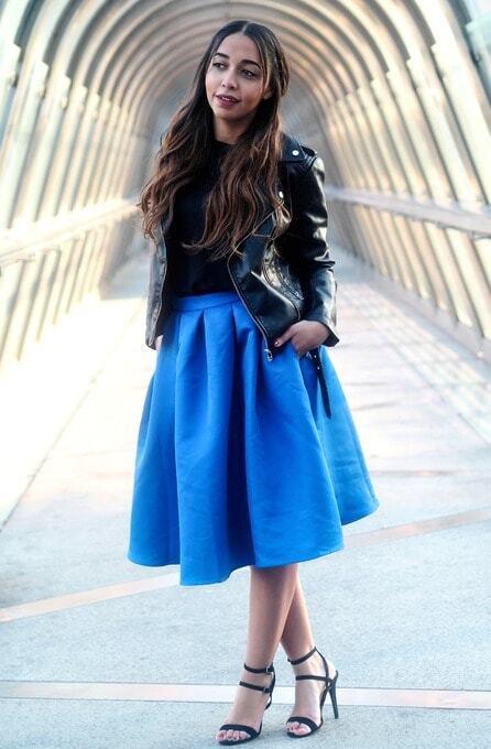 blue pleated skirt style gallery lookbook of shein www