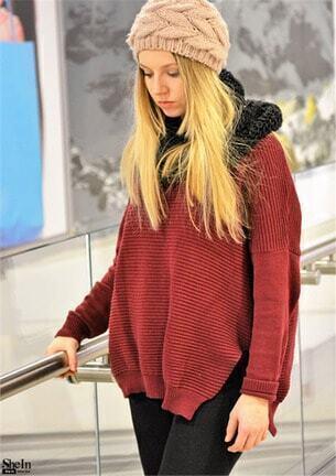 Burgundy Ribbed Knit Drop Shoulder Slit Oversized Sweater Style Gallery 4c9fbb8cd
