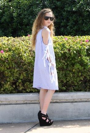 8ab0668a896 Blue And White Striped Bow Tie Split Sleeve Shirt Dress Style Gallery