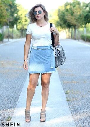 fa71fb936b D-Ring Belted Frayed Overlap Denim Skirt Style Gallery