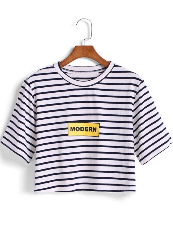 8b093c8a594 Black White Striped MODERN Print Crop T-Shirt -SheIn(Sheinside)