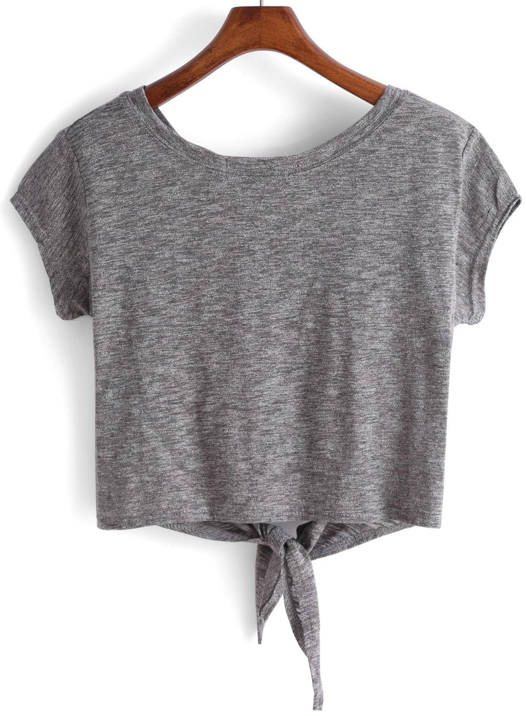 grey knotted crop t shirt shein sheinside. Black Bedroom Furniture Sets. Home Design Ideas