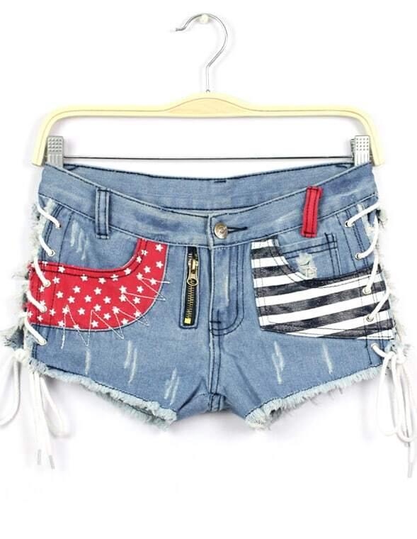 c72af9c303 Blue Bandage Striped Stars Print Denim Shorts | SHEIN