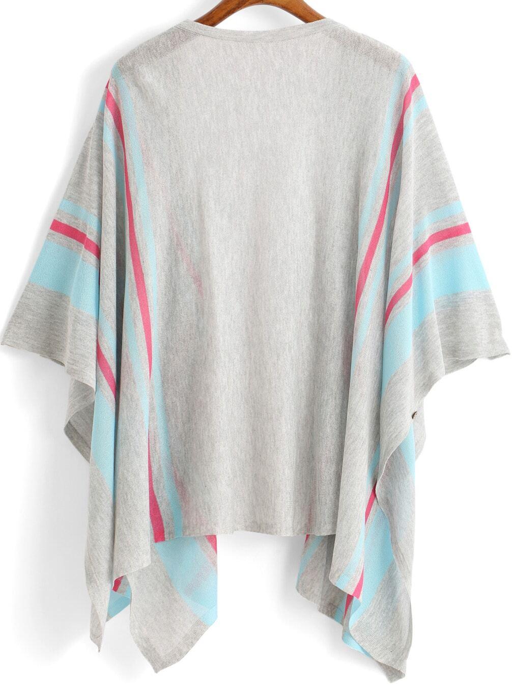 Grey Blue Kimono Sleeve Striped Knit Cardigan -SheIn(Sheinside)