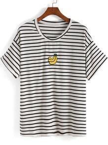 White Short Sleeve Striped Banana Print T-Shirt