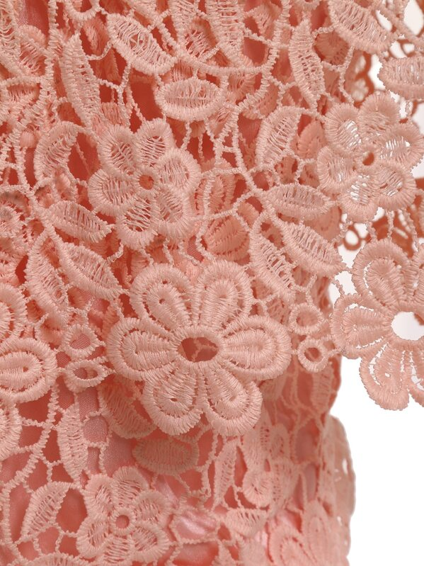 Blusa cuello barco flores crochet encaje -rosa-Spanish SheIn(Sheinside)