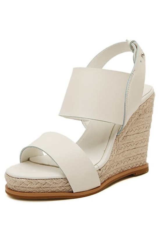 257864651f8b6a White Buckle Strap Wedge Sandals -SheIn(Sheinside)