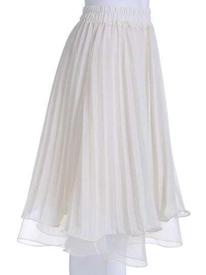 beige elastic waist pleated skirt shein sheinside
