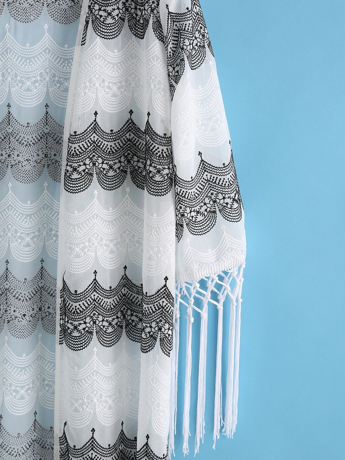 Kimono bordado flecos suelto blanco spanish shein sheinside for Suelto blanco suelto barato