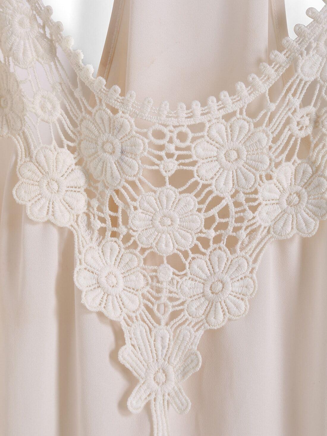 Spaghetti Strap Dip Hem Floral Crochet Cami Top -SheIn ...