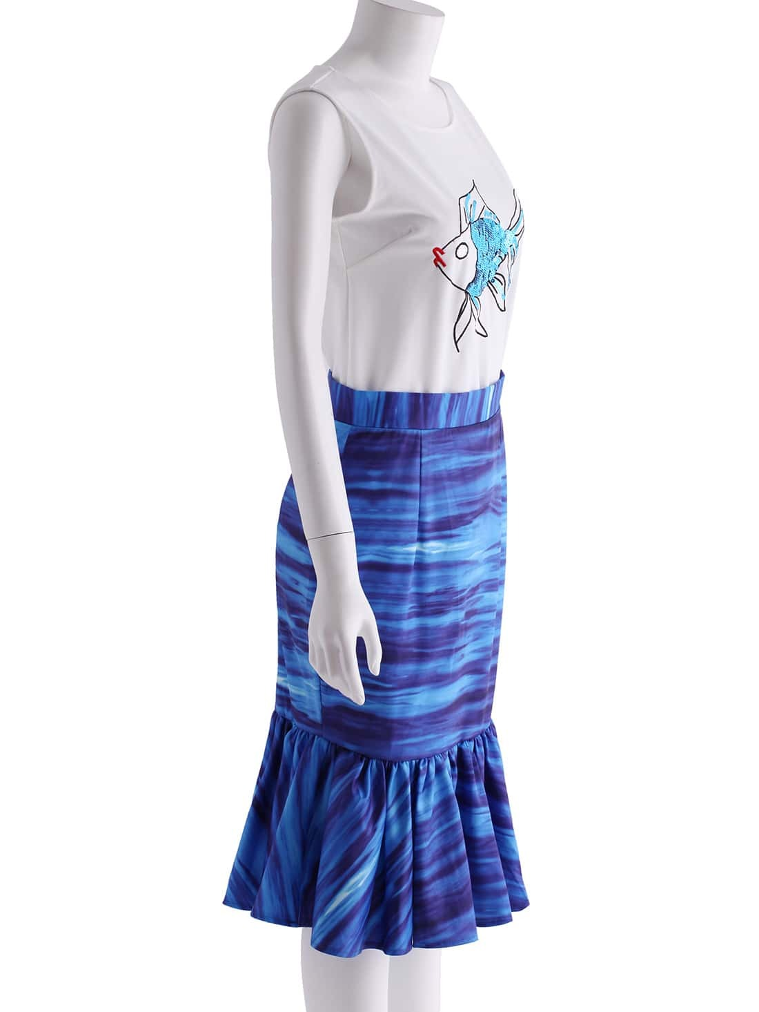 white sleeveless sequined fish top with blue ruffle skirt
