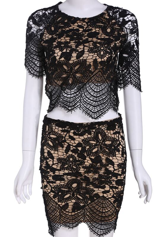 9a3b806afbb9fa Black Short Sleeve Lace Crop Top With Bodycon Skirt. AddThis Sharing Buttons