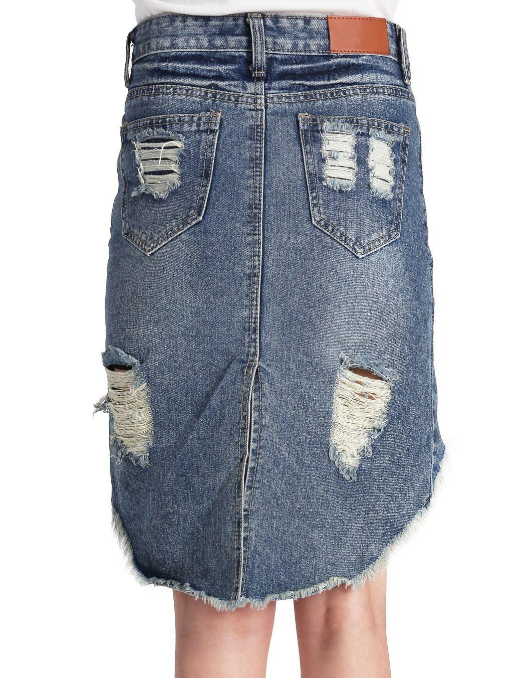 blue ripped fringe denim skirt shein sheinside
