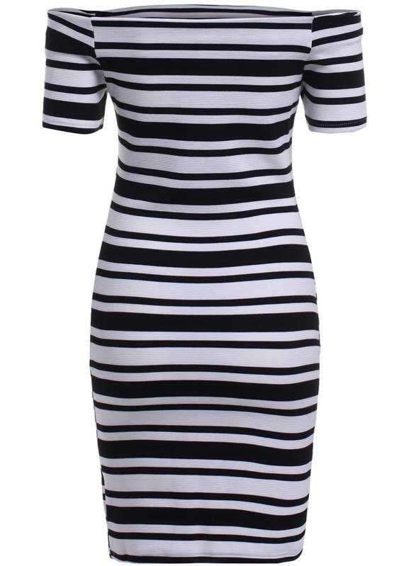 651fe0e84e Black White Off the Shoulder Striped Dress -SHEIN(SHEINSIDE)
