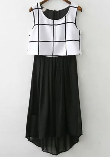 b44bd89411ec9 فستان شيفون منقوش أبيض أسود بلا أكمام