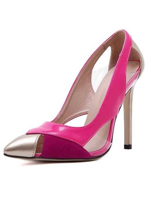 731972358b5 Peach Point Toe Pierced High Heeled Pumps -SheIn(Sheinside)