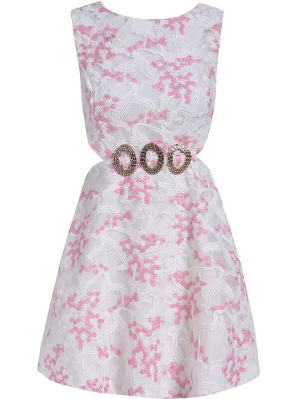2600a7eba06a Vestido sin manga metal bordado -rosa