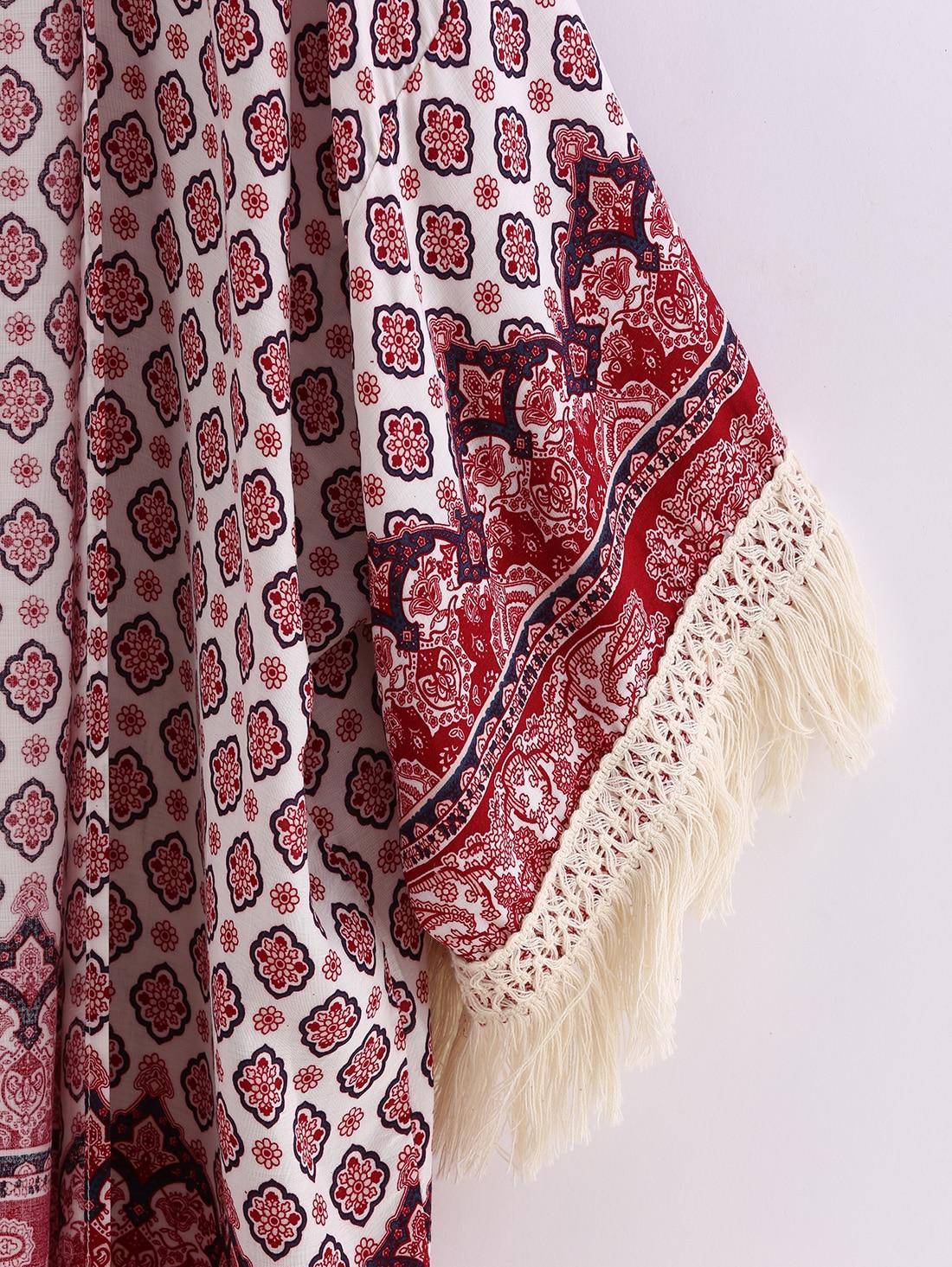 Red Tribal Print Tassel Loose Kimono -SheIn(Sheinside)