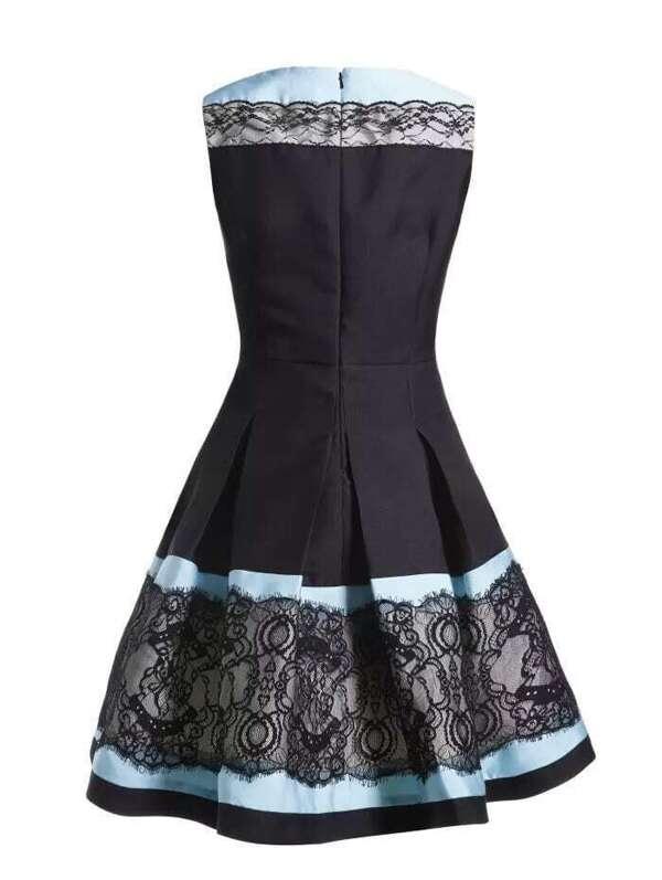 af9f0f7f24 Blue Contrast Black Round Neck Sleeveless Lace Dress | SHEIN