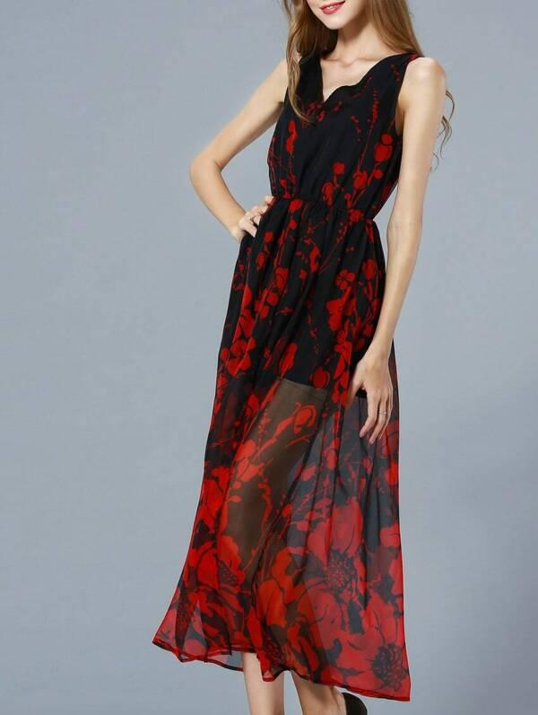 795232944989 Red V Neck Sleeveless Floral Print Maxi Dress -SHEIN(SHEINSIDE)