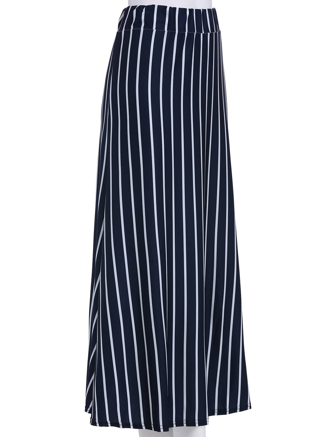 blue vertical stripe split skirt shein sheinside