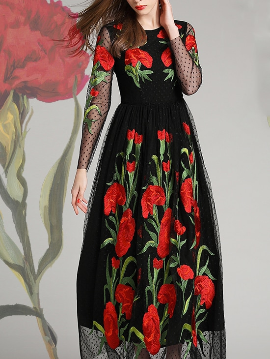 1f5adee679 Black Round Neck Long Sleeve Embroidered Maxi Dress