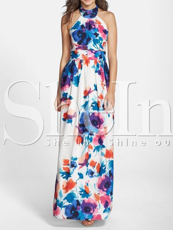 5ae2334913 White Halter Backless Floral Great Patterned Print Motley Maxi Dress | SHEIN