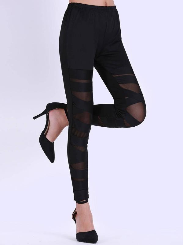 d0b5346fc48055 Cheap Black Skinny Sheer Mesh Bandage Leggings for sale Australia | SHEIN