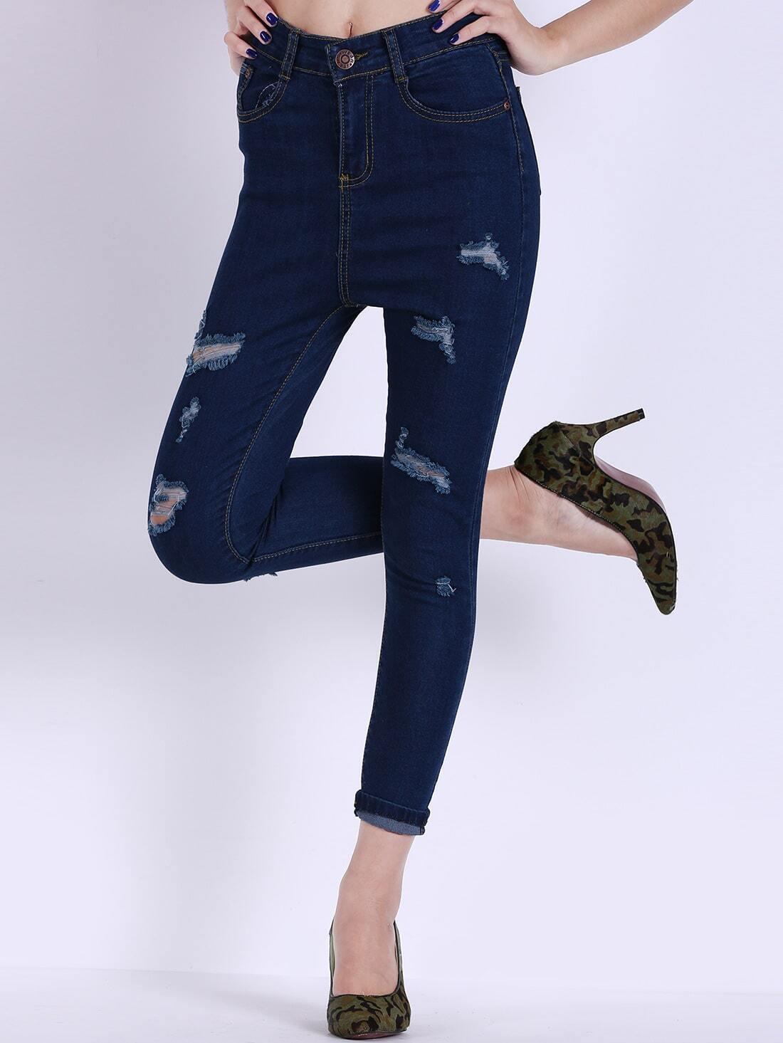 schmale jeans mit zerrissenen design und taschen marineblau german shein sheinside. Black Bedroom Furniture Sets. Home Design Ideas