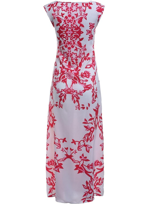 a7f92167243c Red White Round Neck Raspberry Floral Maxi Dress