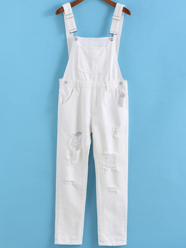 27e55f961aa0 White Strap Ripped Pockets Denim Jumpsuit -SheIn(Sheinside)