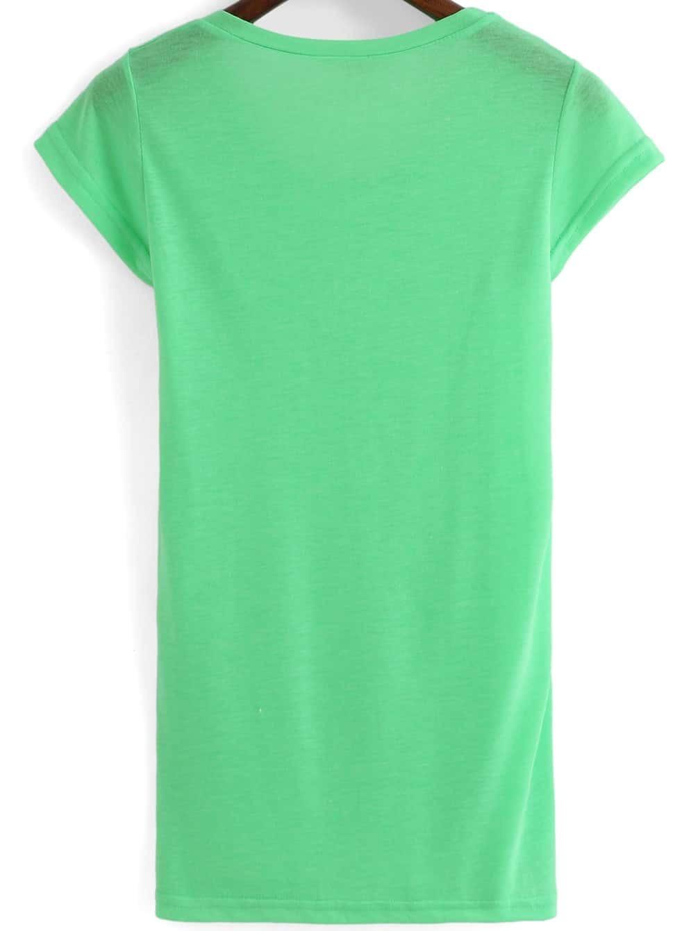 Neon Green Round Neck Short Sleeve T Shirt Shein Sheinside