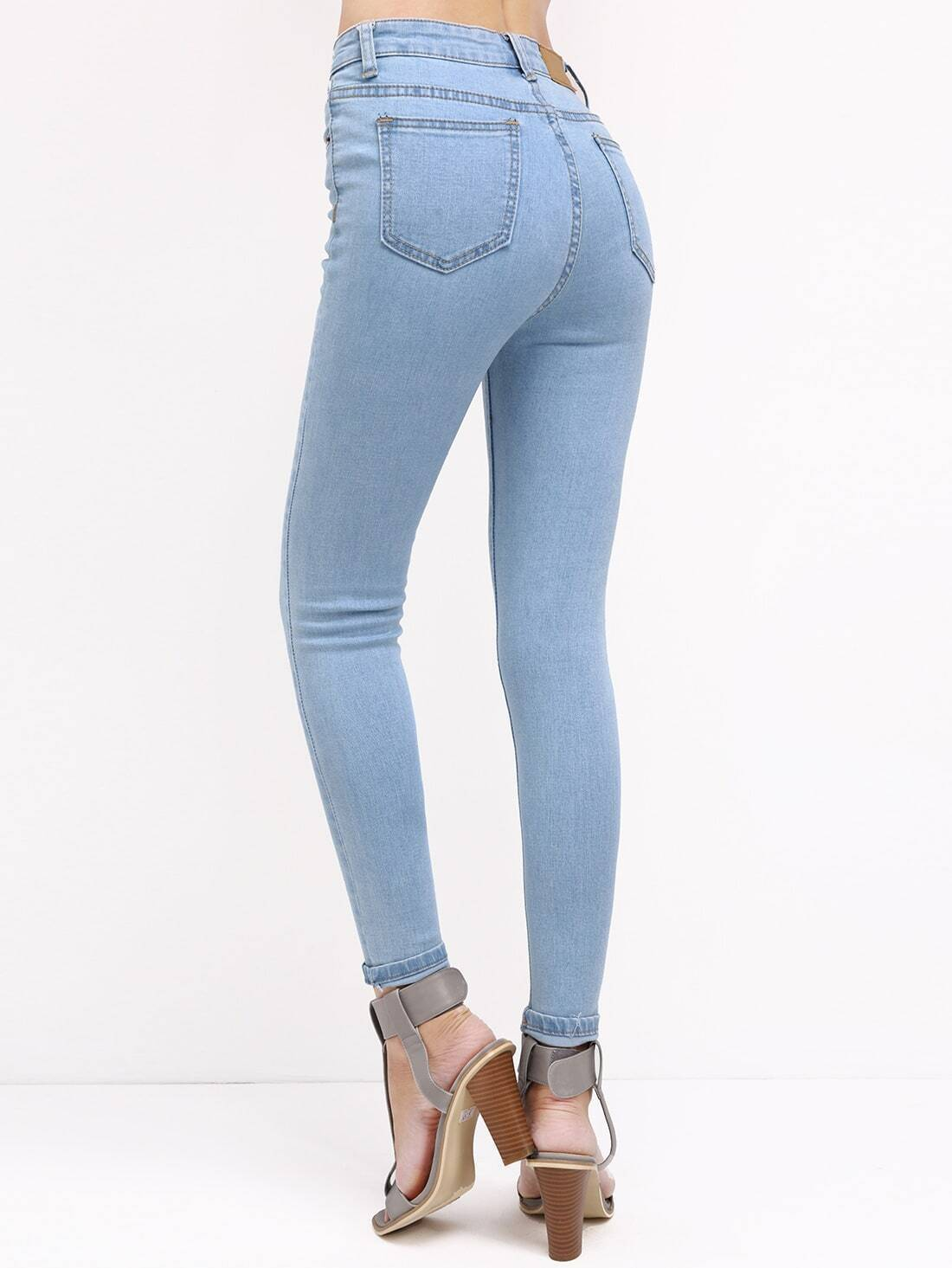 pantalon en denim d chir bleu french shein sheinside. Black Bedroom Furniture Sets. Home Design Ideas