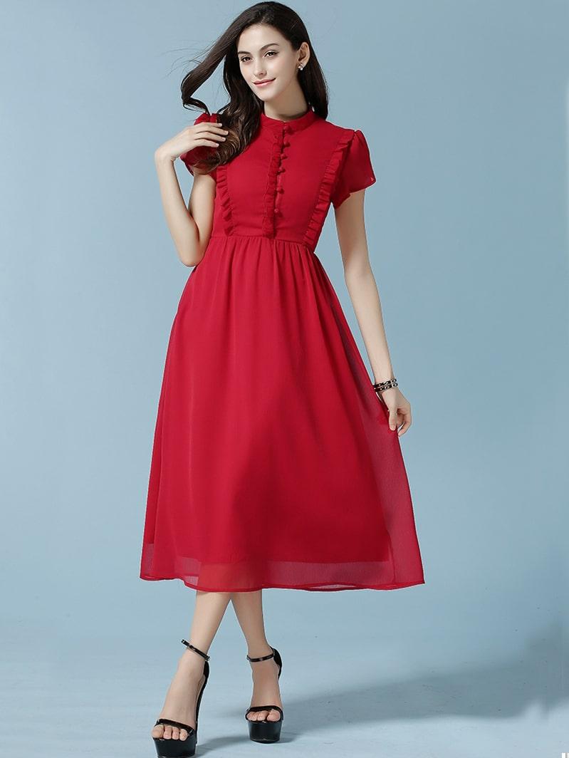 Red Stand Collar Fungus Rouge Chiffon Dress -SheIn(Sheinside)