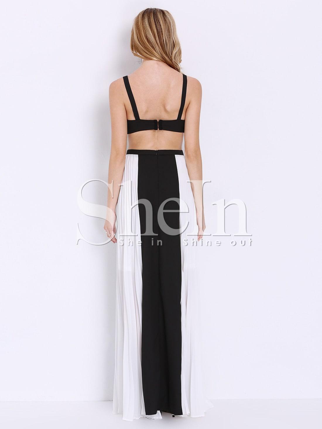 Spaghetti Strap Backless Color Block Sleeveless Maxi Dresses