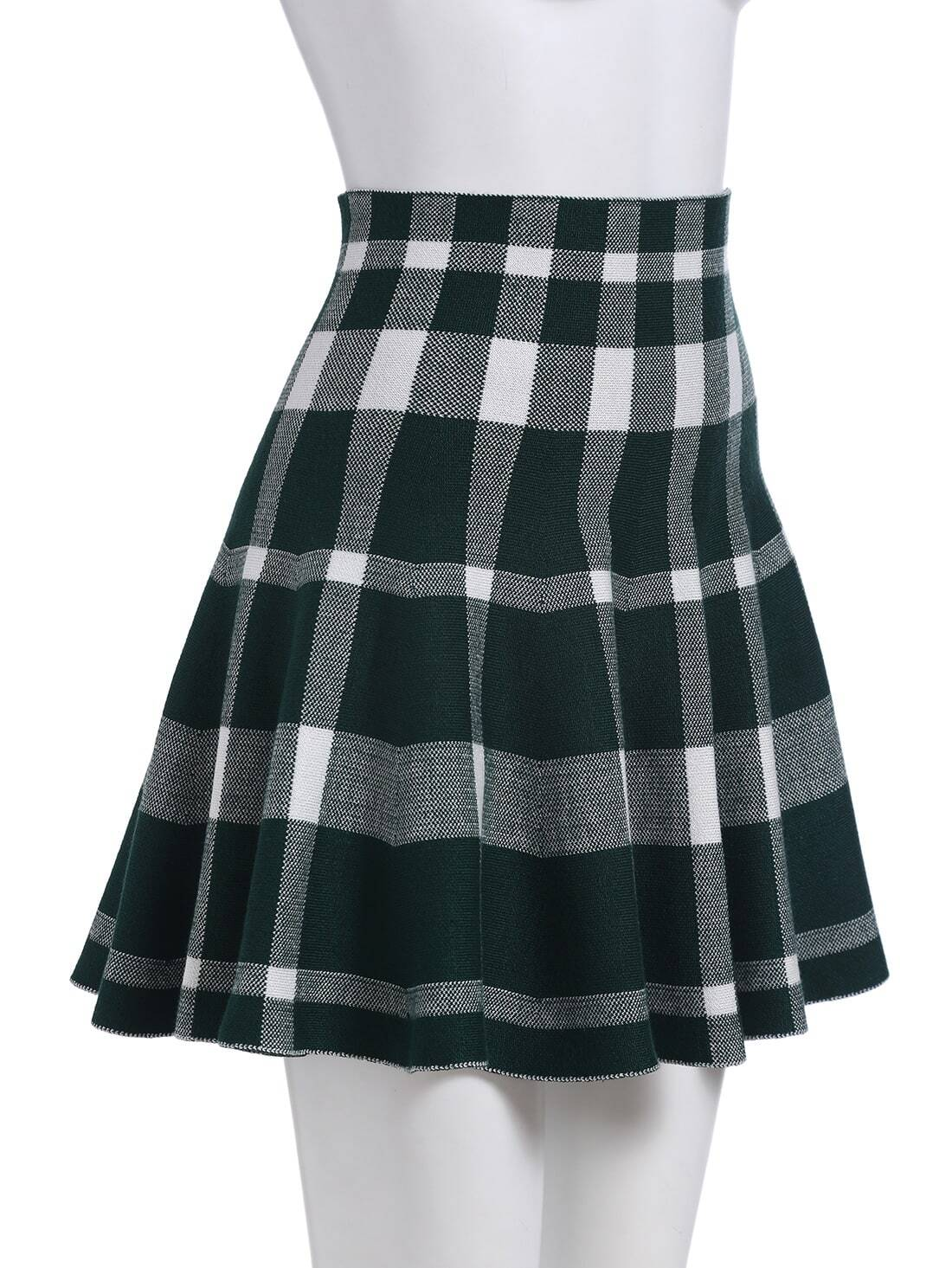 green plaid a line skirt shein sheinside