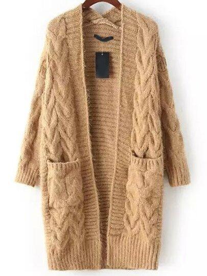 жёлтый вязаный свитер с длинными рукавами Shein