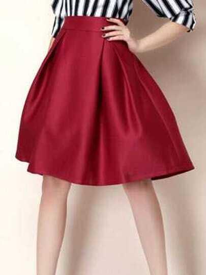 22bf21654ca0 jupe évasée taille haute -rouge bordeaux