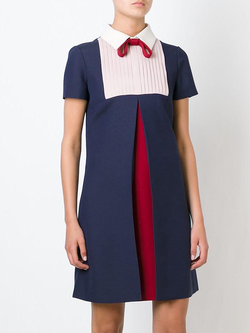 Navy Tie Lapel Short Sleeve Pleated Dress Shein Sheinside