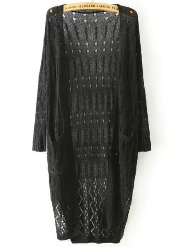 Black Long Sleeve Hollow Loose Knit Cardigan -SHEIN(SHEINSIDE) 5513eeed8