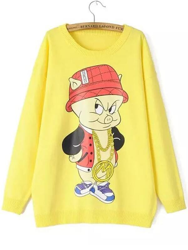 ab370a9a9fc021 Yellow Round Neck Cartoon Pig Print Sweater -SheIn(Sheinside)