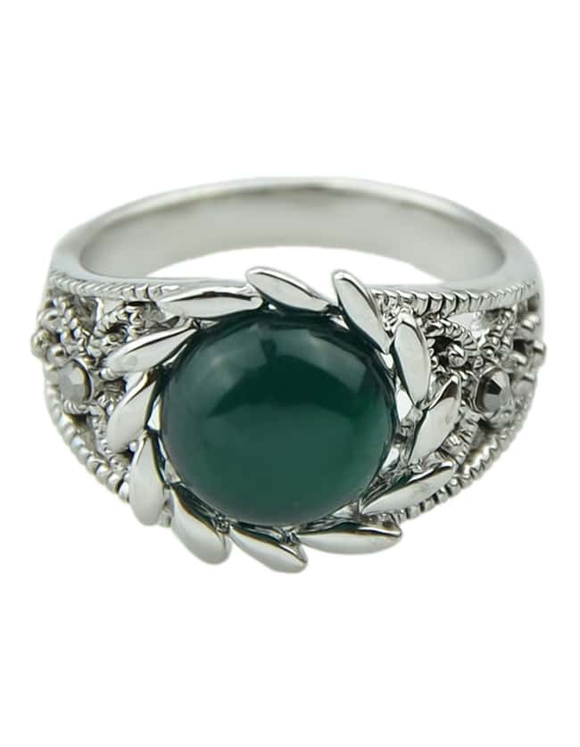 design silver plated single green gemstone engagement ring
